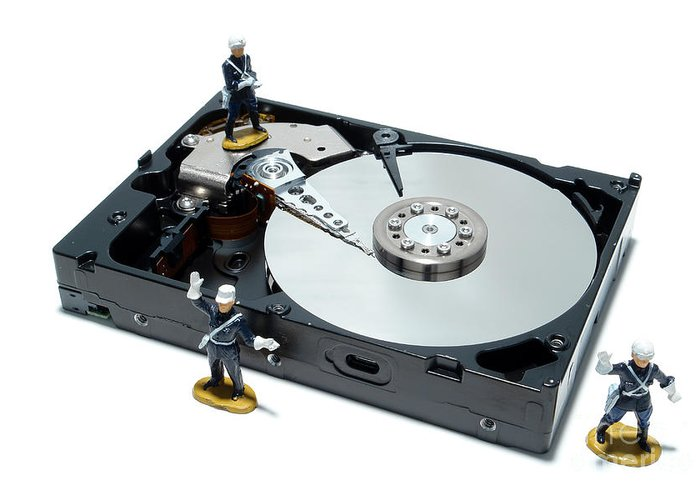 Computer Greeting Card featuring the photograph Hard Drive Security by Olivier Le Queinec