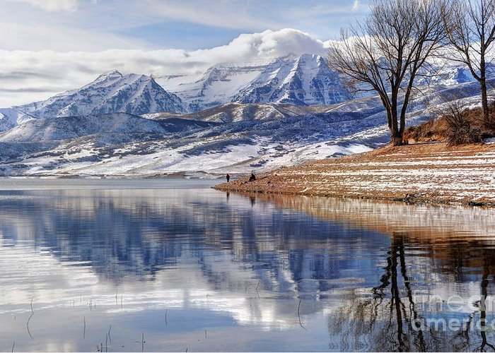 Mount Timpanogos Greeting Card featuring the photograph Hardy Fishermen Deer Creek Reservoir And Timpanogos In Winter by Gary Whitton