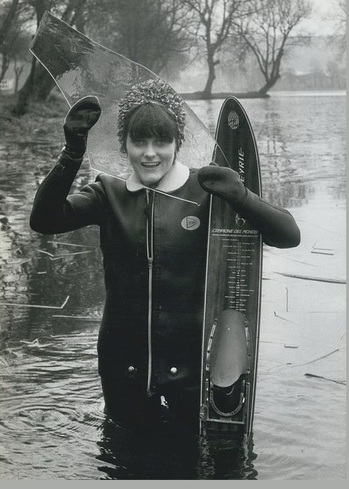 retro Images Archive Greeting Card featuring the photograph Hardy Jeannette Breaks The Ice At Rickmansworth Aquadrome by Retro Images Archive