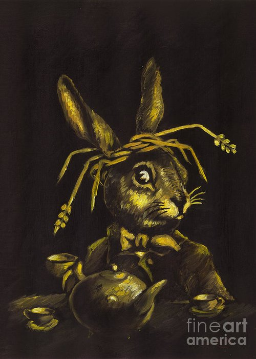 Oil Painting Greeting Card featuring the painting Hare by Suzette Broad