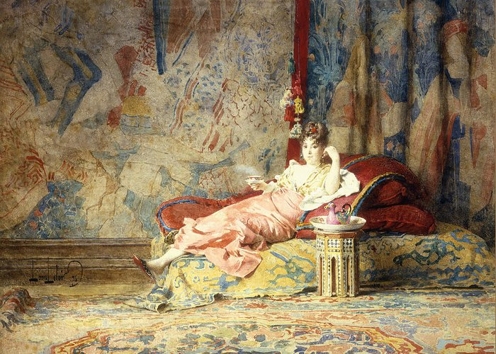 Harem; Beauty; Beautiful; Female; Woman; Sanctum; Reclining; Chaise; Lounge; Interior; Moorish; Tapestry; Fresco; Textile; Textiles; Carpet; Relaxed; Relaxing; Lounging; Pose; Tea; Drink; Beverage; Greeting Card featuring the painting Harem Beauty by Alexandre Louis Leloir
