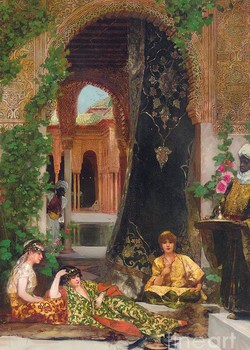 Constant Greeting Card featuring the painting Harem Women by Jean Joseph Benjamin Constant