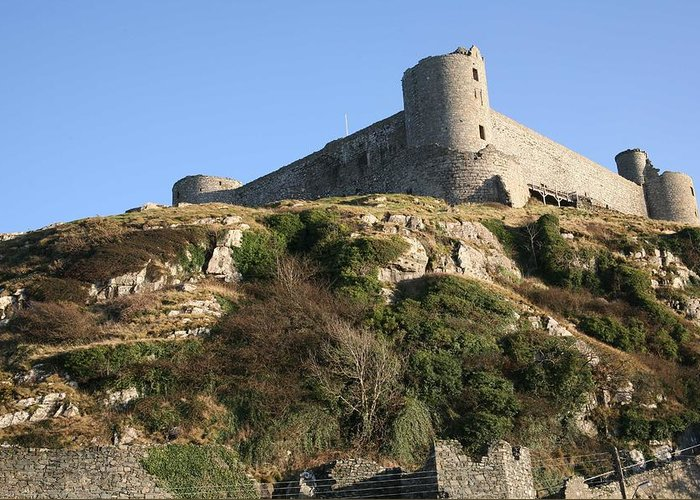 Castles Greeting Card featuring the photograph Harlech Castle by Christopher Rowlands