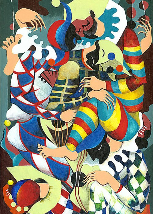 Canvas Prints Greeting Card featuring the painting Harlequins Acting Weird - Why?... by Elisabeta Hermann