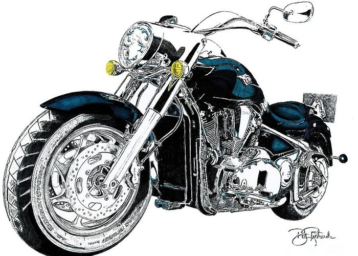Harley davidson greeting card for sale by bill richards harley greeting card featuring the drawing harley davidson by bill richards m4hsunfo