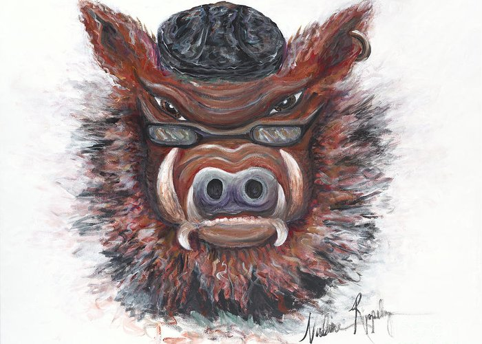 Hog Greeting Card featuring the painting Harley Hog by Nadine Rippelmeyer