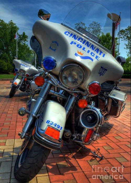Cincinnati Greeting Card featuring the photograph Harleys In Cincinnati 1 by Mel Steinhauer