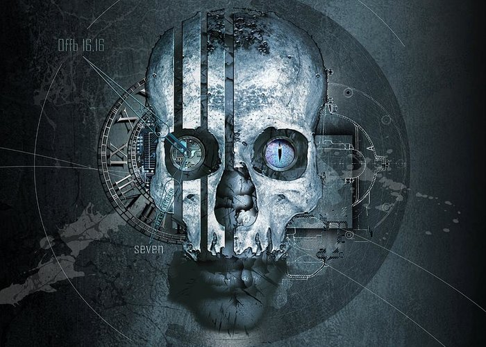 Skull Greeting Card featuring the digital art Harmagedon Blue-gray by Franziskus Pfleghart