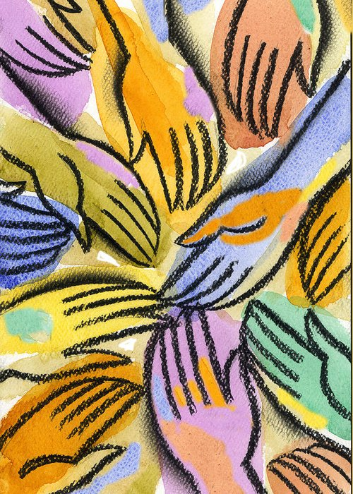 African Ethnicity Asian Ethnicity Caucasian Close Up Color Image Community Concept Diversity Four People Friend Hand Harmony Hope Identity Illustration Illustration And Painting Individuality Latin American And Hispanic Ethnicity Multi-ethnic Group Peace People Together Tranquil Scene Vertical Watercolor World Peace African American Anticipation Asian Calm Close-up Color Colour Drawing Four Friendship Hispanic Jointly Painting Person Personality Rapport Tranquility Variety European Painting Art Greeting Card featuring the painting Multi-ethnic Harmony by Leon Zernitsky