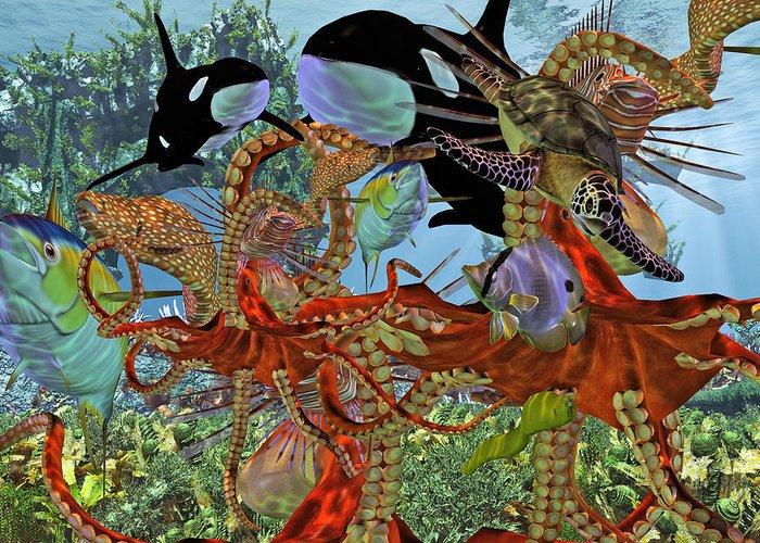 Sea Greeting Card featuring the digital art Harmony Under The Sea by Betsy Knapp