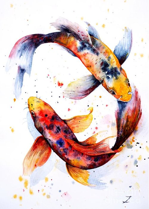 Koi Fish Pond Greeting Cards