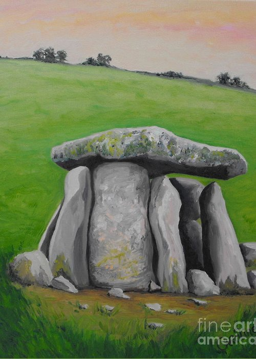 Dolmen Greeting Card featuring the painting Haroldstown Dolmen by Caroline Cunningham