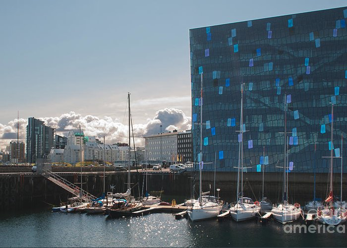 Iceland Greeting Card featuring the photograph Harpa And The Harbor In Reykjavik by Jackie Follett