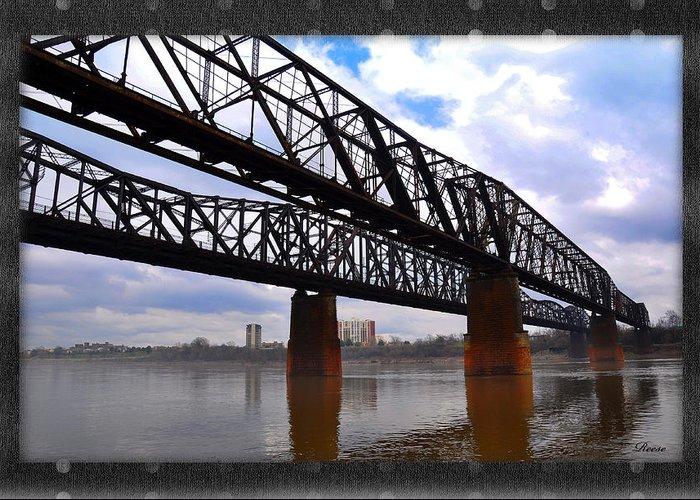 Bridges Greeting Card featuring the photograph Harrahan Railroad Bridges by Reese Lewis