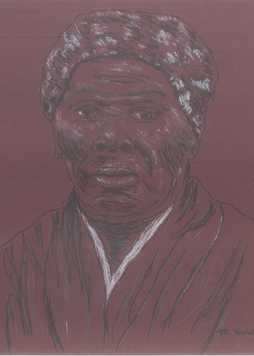 Abolitionist Greeting Card featuring the drawing Harriet Tubman by Bob Gumbs