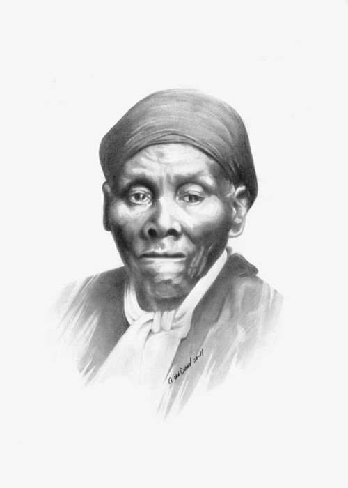 Harriet Tubman Greeting Card featuring the drawing Harriet Tubman by Gordon Van Dusen