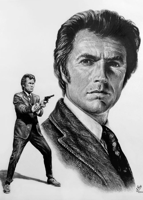 Clint Eastwood Greeting Card featuring the drawing Harry Callahan by Andrew Read