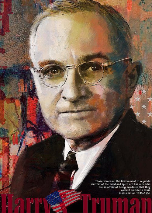 Harry S. Truman Greeting Card featuring the painting Harry S. Truman by Corporate Art Task Force