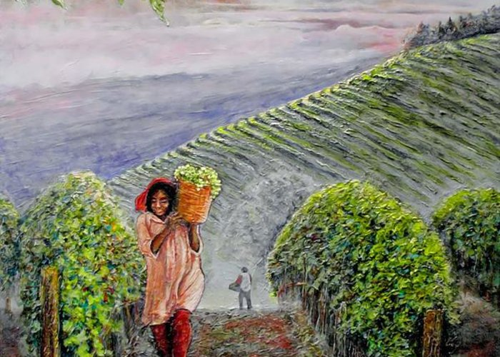 Vineyard Greeting Card featuring the painting Harvest At Dawn by Michael Durst