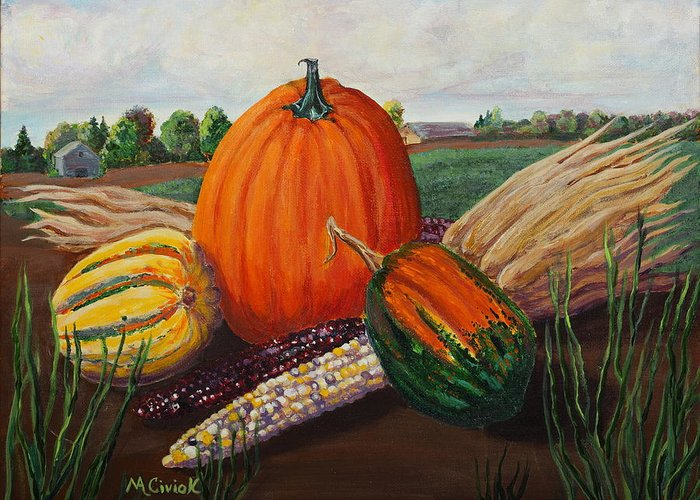 Autumn Greeting Card featuring the painting Harvest by Mary Anne Civiok