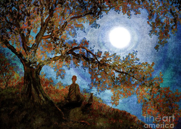 Zen Greeting Card featuring the digital art Harvest Moon Meditation by Laura Iverson