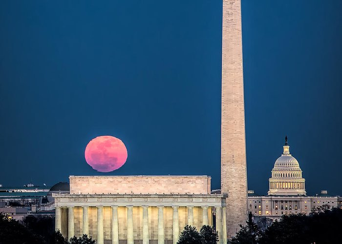 Washington Dc Greeting Card featuring the photograph Harvest Moon Over Lincoln Memorial by Izet Kapetanovic