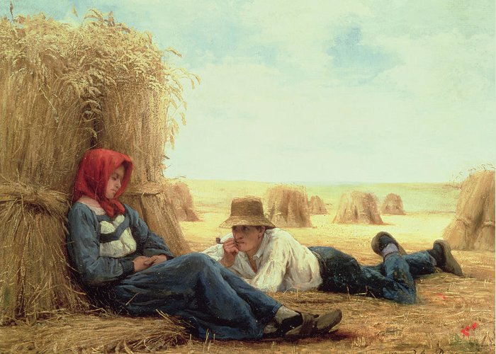 Couple Greeting Card featuring the painting Harvest Time by Julien Dupre