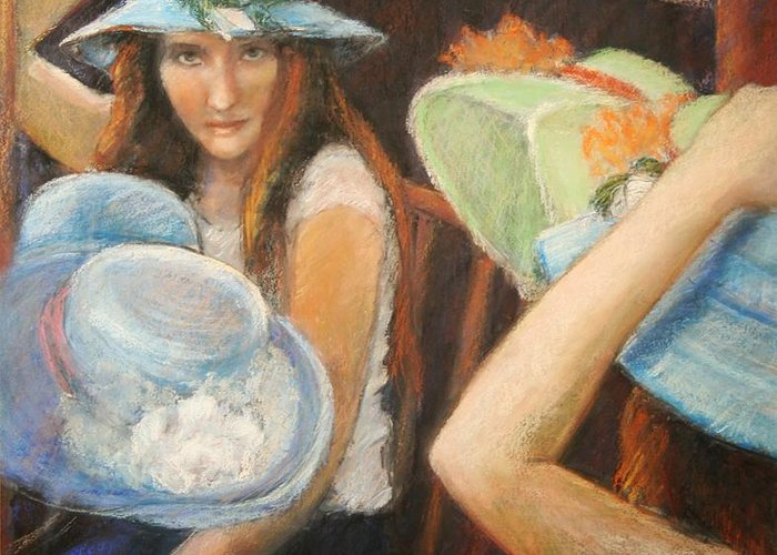Greeting Card featuring the painting Hats by Helen Hickey
