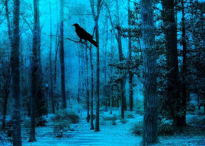 Haunting Dark Crow Prints Greeting Card featuring the photograph Haunting Dark Blue Surreal Woodlands With Crow by Kathy Fornal