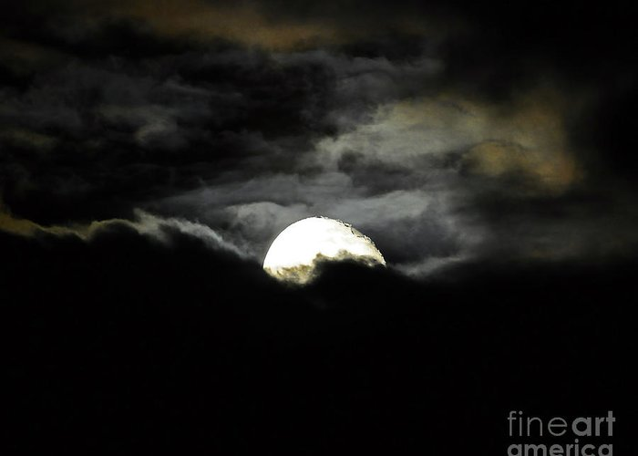 Moon Greeting Card featuring the photograph Haunting Horizon 02 by Al Powell Photography USA