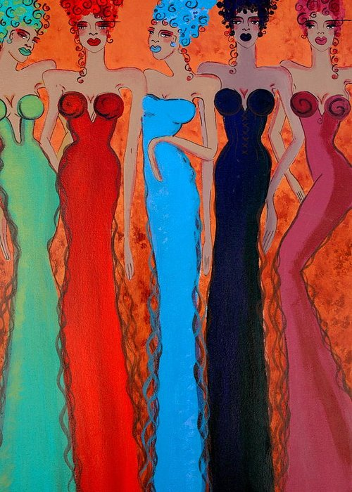 Sisters Greeting Card featuring the painting Haute Colours by Helen Gerro