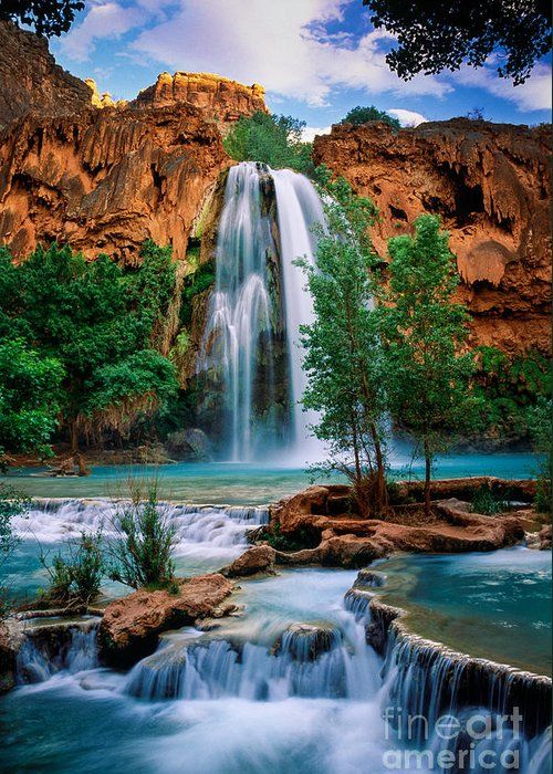 America Greeting Card featuring the photograph Havasu Cascades by Inge Johnsson
