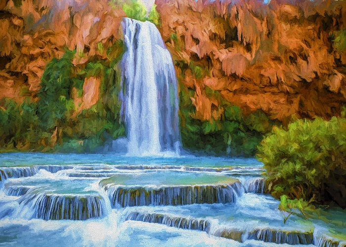 Fine Art Greeting Card featuring the painting Havasu Falls by David Wagner