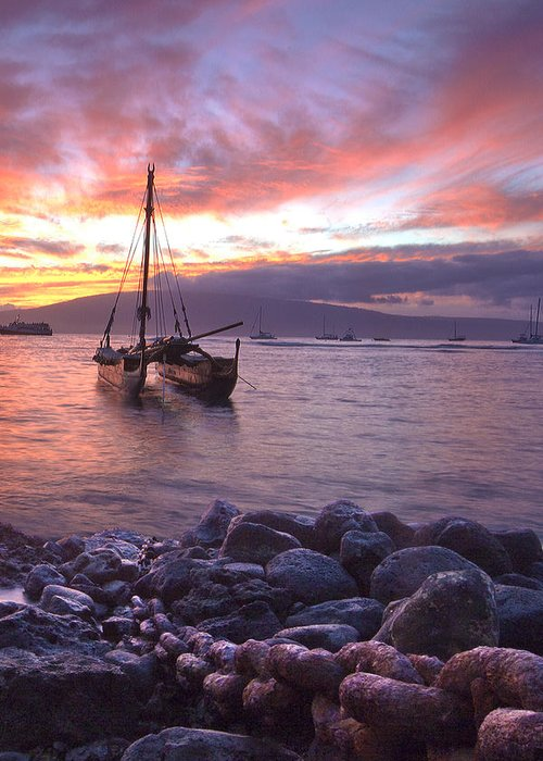Lahaina Maui Hawaii Sunset Harbor Sailing Canoe Seascape Greeting Card featuring the photograph Hawaii by James Roemmling