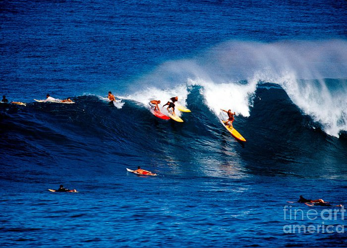 Horizontal; Outdoors; Day; Elevated View; Incidental People; Skill; Non Urban Scene; Sea; Wave; Surfing; Surfboard; Outdoor Pursuit; Recreational Pursuit; Sport; Challenge; Rivalry; Competition; Hawaii; Oahu; Usa Greeting Card featuring the photograph Hawaii Oahu Waimea Bay Surfers by Anonymous