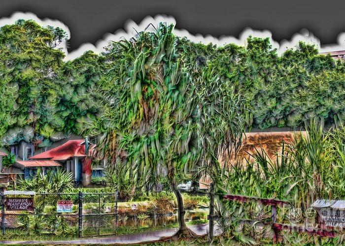 Landscape Greeting Card featuring the digital art Hawaii Plantation by John Watson