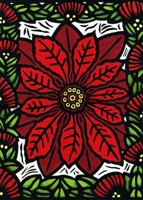 Poinsettia Greeting Card featuring the mixed media Hawaiian Christmas Joy by Lisa Greig