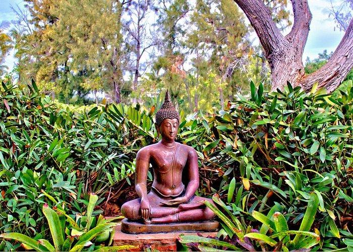Hawaii Greeting Card featuring the photograph Hawaiian Garden Buddha by Bob Kinnison