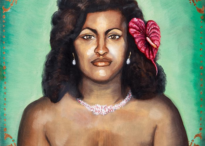Hawaiian princess greeting card for sale by mani price art painting oil mom mother hawaiian female nude ethnic mature erotic portrait nature decorative flowers shells m4hsunfo