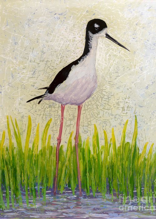Hawaiian Birds Greeting Card featuring the painting Hawaiian Stilt by Anna Skaradzinska