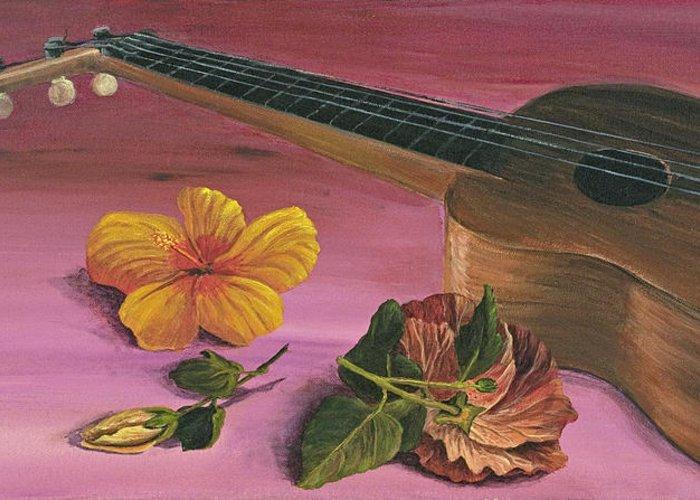 Hawaiian Ukulele Greeting Card featuring the painting Hawaiian Ukulele by Darice Machel McGuire