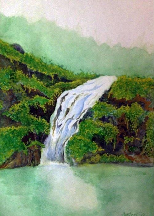 Rick Huotari Greeting Card featuring the painting Hawaiian Waterfall by Rick Huotari