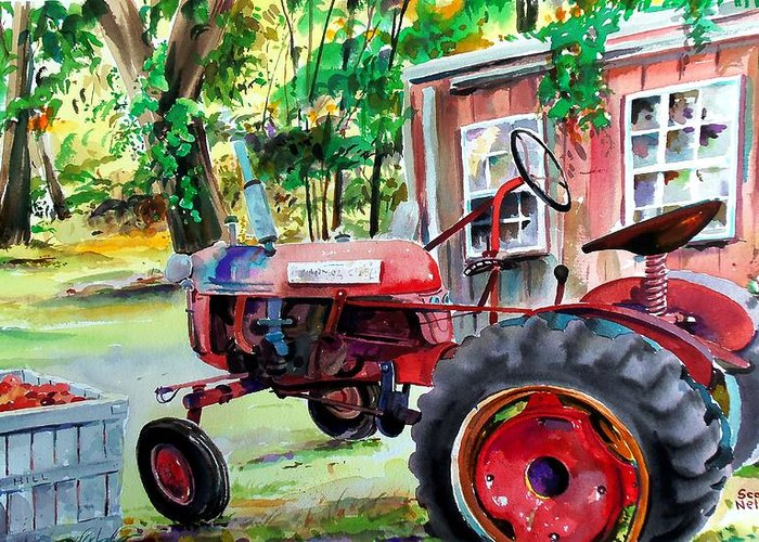 Hawk Hill Greeting Card featuring the painting Hawk Hill Apple Tractor by Scott Nelson