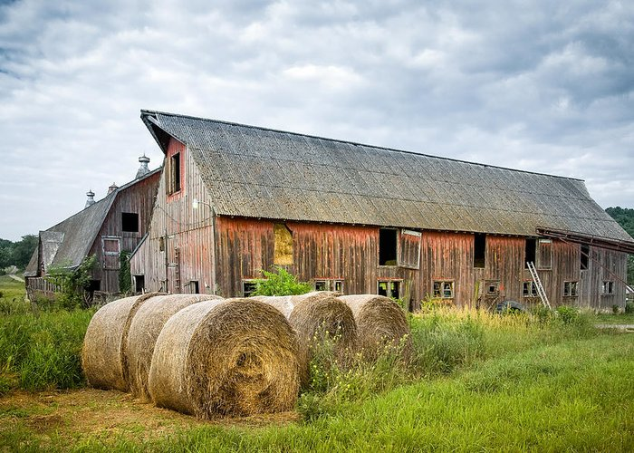 Old Barn Greeting Card featuring the photograph Hay Bales And Old Barns by Gary Heller