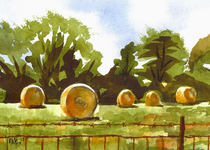 Hay Bales At Noontime Greeting Card featuring the painting Hay Bales At Noontime by Kip DeVore