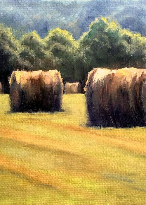 Hay Bales Greeting Card featuring the painting Hay Bales by Janet King