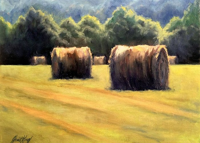 Hay Bales In Franklin Tennessee Paintings Greeting Cards