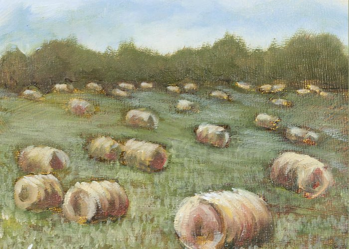 Hay Bales Greeting Card featuring the painting Haybales In The Field by Vic Mastis