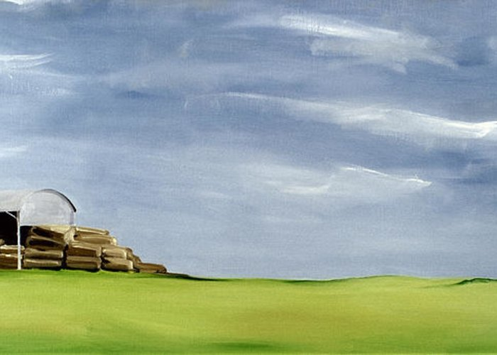Agriculture & Rural Scenes Greeting Card featuring the painting Haybarn Dreaming by Ana Bianchi