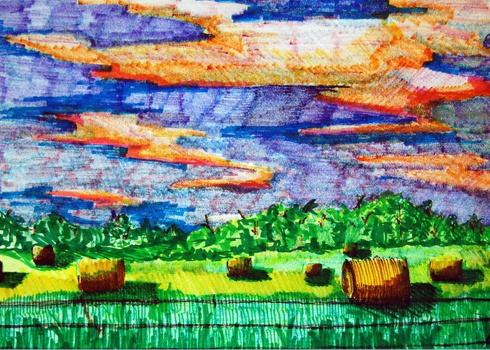 Clouds Greeting Card featuring the drawing Hayfields by Jame Hayes